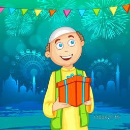 Happy Muslim boy with gift on shiny mosque silhouette background for Islamic festival, Eid Mubarak celebration.