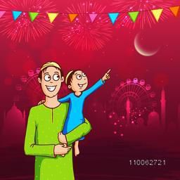 Cute little kid in his father's lap pointing towards the moon for Islamic festival, Eid Mubarak celebration on shiny mosque and crackers decorated background.