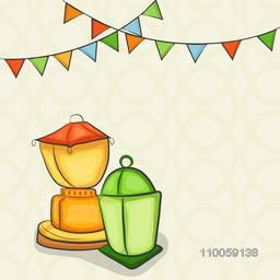 Colorful arabic lamps or lanterns with bunting for holy month of muslim community, Ramadan Kareem celebration on seamless background.