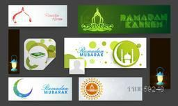 Social media and marketing headers, ads or banners for holy month of muslim community, Ramadan Kareem celebration.