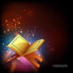 Islamic religious book Quran Shareef on shiny colorful background for holy month of Muslim community Ramadan Kareem celebration.