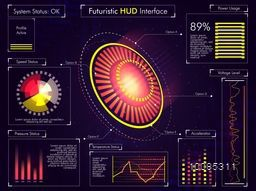 Futuristic HUD Interface UI, UX design, Big set of infographic elements, Abstract virtual technology background with statistical bars, graphs and charts, Business vector illustration.