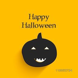 Illustration of a spooky pumpkin with stylish text on orange background.