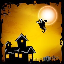 Scary night scene with haunted house and flying ghost infront of moon on grungy background.