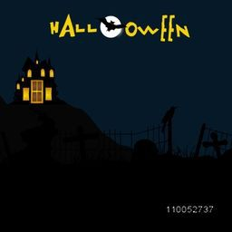 Dangerous night scene for Halloween party poster with haunted house, flying bat, silhouette of crow and stylish Halloween text.