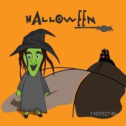 Scary ghost wearing witch hat with haunted house, stylish Halloween text and horn broom on orange background.