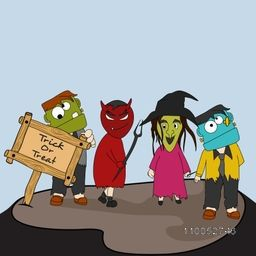 Four Horrible ghost with a wooden board of text Trick Or Treat for Halloween on sky blue background.