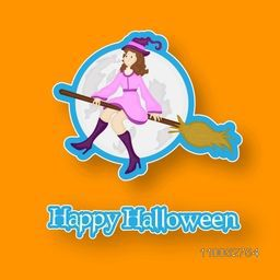 Stylish girl wearing witch hat flying on horn broom with stylish Happy Halloween text on bright orange background.