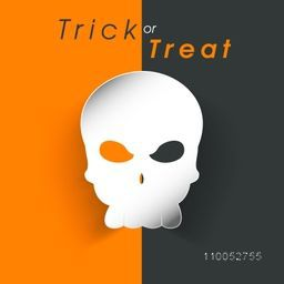 Stylish poster of Trick or Treat with horrible skull for Halloween party.