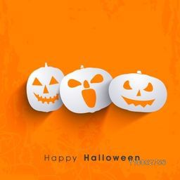 Scary smiling pumpkin faces with stylish text for Halloween on bright orange background.