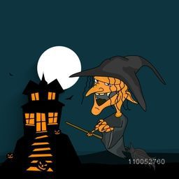 Dangerous night scene with a witch flying on horn broom with haunted house, flying bats; pumpkin and moon on blue background.