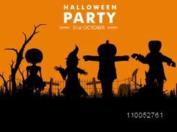 Stylish poster for Halloween party with its date and silhouette of scary ghosts on orange background.
