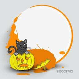 Stylish frame for Halloween party with a cat holding pumpkin and space for message.