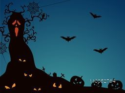 Horrible night view with scary tree, flying bats, pumpkins, scary eyes, owl and spider weaving its cobweb on blue background..