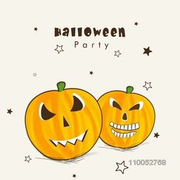 Happy Halloween party celebration poster, banner or flyer with smiling pumpkins on decorated beige background.
