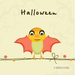 Colorful cartoon of bat sitting on rope for Halloween party celebration on stylish beige background, can be use as poster, banner or flyer.