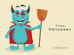 Cartoon of devil holding a horn broom for Halloween party celebration concept on beige background.