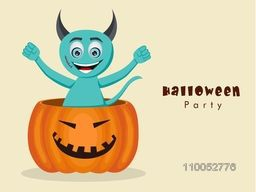 Funny devil cartoon standing in big pumpkin for Halloween party celebration on beige background.