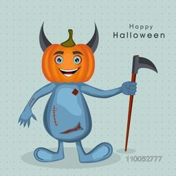 Cartoon charcter of devil in pumpkin face holding an axe for Halloween party celebration on dotted sky blue background.