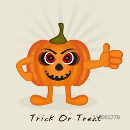 Funny pumpkin cartoon character showing thums up for Trick Or Treat party celebration, can be use as poster, banner or flyer.
