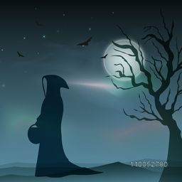 Silhouette of a traditional ghost holding a pot with dry tree and flying bat for Halloween concept.