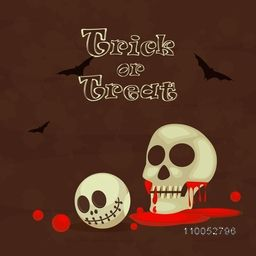 Trick Or Treat party celebration with scary skull, blood and flying bat on brown background.