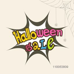 Colorful Halloween Sale text design over explosion art on beige background.