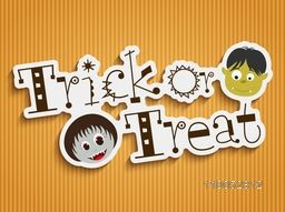 Sticker, tag or label with vampire and witch face for Trick Or Treat party celebration on seamless yellow background.