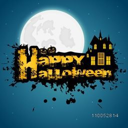Stylish Happy Halloween text with scary pumpkins, haunted house and full moon on blue background.