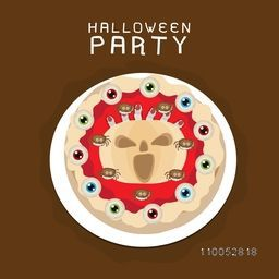 Halloween party celebration poster, banner or invitation with spooky cake on brown background.