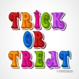 Colorful stylish text of Trick Or Treat for party celebration on beige background, can be use as poster, banner or flyer.