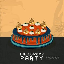 Cake with spooky eyes and pumpkin for Halloween party celebration, can be use as poster, banner or flyer.