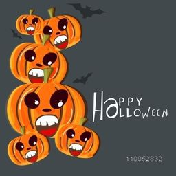 Poster, banner or background for Happy Halloween party celebration with smiling scary pumpkins and flying bat.