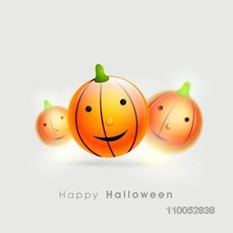 Smiling pumpkin poster, banner of flyer for Happy Halloween party celebration on light grey background.