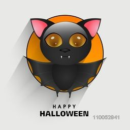 Halloween party and day celebration sticker, tag or label with spooky bat on light grey background.