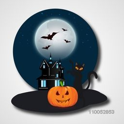 Horrible night view with flying bat in-front of moon, silhouette of haunted house, cat and scary pumpkin face on light grey background.