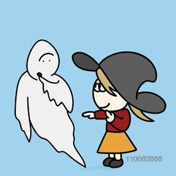 Little cute girl with a traditional ghost for Halloween concept on sky blue background.