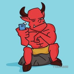 Cartoon of devil holding a mobile phone for Halloween concept on sky blue background.