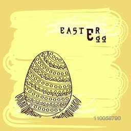 Floral decorated Easter egg on stylish yellow background, can be used as greeting or invitation card.