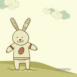Cute bunny on nature background for Happy Easter celebration.