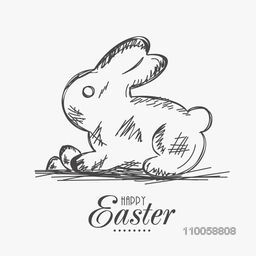 Sketch of a rabbit with eggs for Happy Easter celebration on white background.