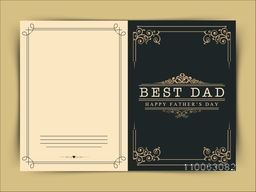 Beautiful floral design decorated greeting card with stylish text Best Dad for Happy Father's Day celebration.