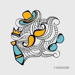 Happy Father's Day celebration greeting card decorated with floral pattern, cowboy hat, crown, necktie and mustache on grey background.