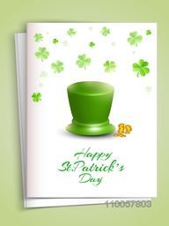 Beautiful greeting card with envelope decorated by glossy leprechaun hat, coins and shamrock leaves for Happy St. Patrick's Day celebration.