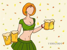 Young leprechaun girl in modern dress holding beer in both hands for Happy St. Patrick's Day celebration.