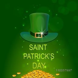 Happy St. Patrick's Day celebration with glossy leprechaun hat and gold coins on shiny green background.