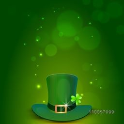 Glossy leprechaun hat with clover leaf on shiny green background for Happy St. Patrick's Day celebration.