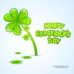 Beautiful greeting card design with shamrock leaves on sky blue background for Happy St. Patrick's Day celebration.