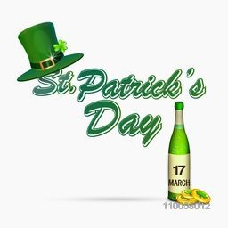 Happy St. Patrick's Day celebration concept with leprechauns hat, beer bottle and gold coins on white background.