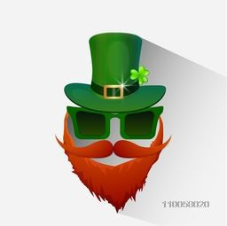 Illustration of Leprechaun face in glossy hat for Happy St. Patrick's Day celebration.